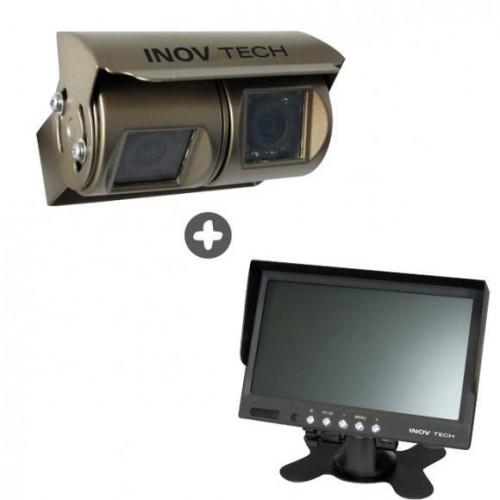 Pantalla + cámara de marcha atrás doble optica con cable
